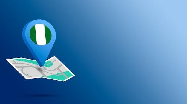 Icône de localisation avec le drapeau du nigeria sur la carte de rendu 3d