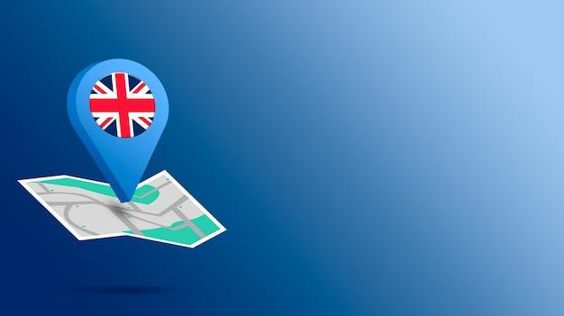 Icône de localisation avec drapeau du royaume-uni sur la carte de rendu 3d
