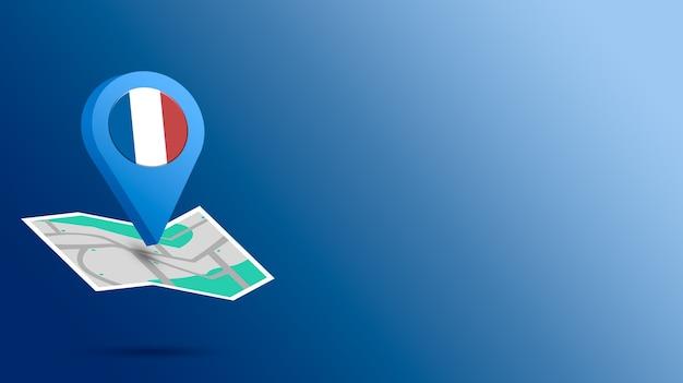 Icône de localisation avec le drapeau de la france sur la carte de rendu 3d
