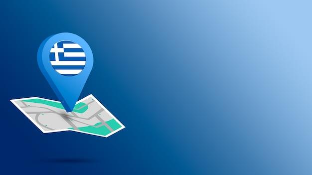 Icône de localisation avec le drapeau de la grèce sur la carte de rendu 3d