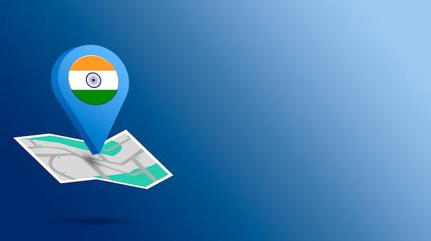 Icône de localisation avec le drapeau de l'inde sur la carte de rendu 3d