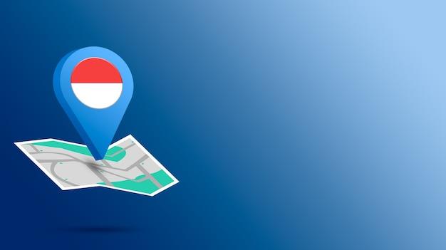 Icône de localisation avec le drapeau de l'indonésie sur la carte de rendu 3d