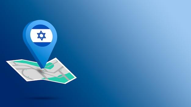 Icône de localisation avec le drapeau d'israël sur la carte de rendu 3d
