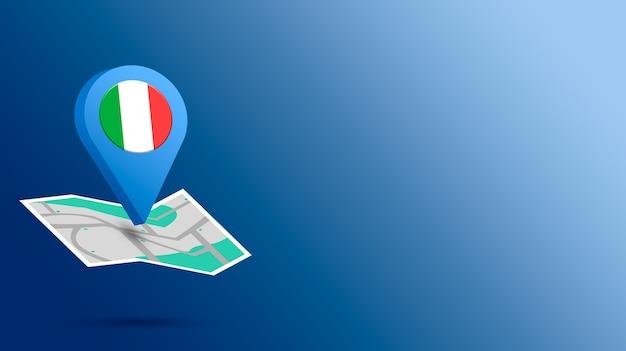 Icône de localisation avec le drapeau de l'italie sur la carte de rendu 3d