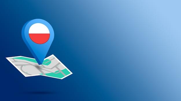 Icône de localisation avec le drapeau de la pologne sur la carte de rendu 3d