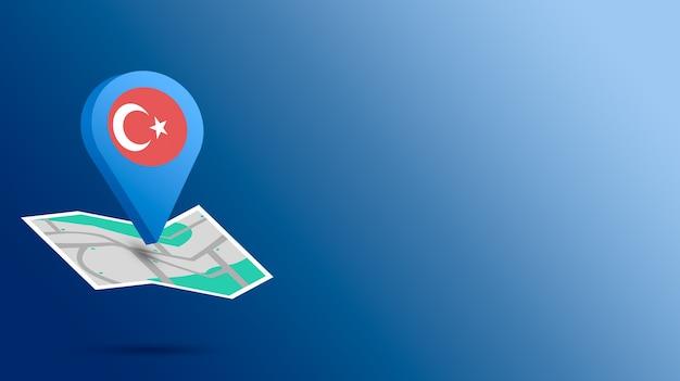 Icône de localisation avec le drapeau de la turquie sur la carte de rendu 3d
