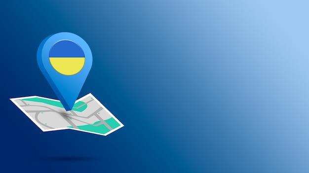 Icône de localisation avec le drapeau de l'ukraine sur la carte de rendu 3d