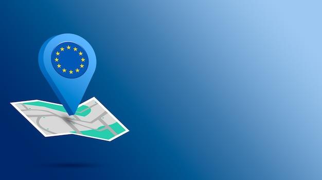 Icône de localisation avec le drapeau de l'union européenne sur la carte de rendu 3d