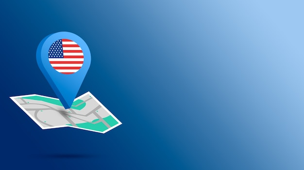 Icône de localisation avec drapeau usa sur la carte de rendu 3d
