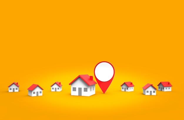 Icône de localisation et maison isolée sur fond orange.