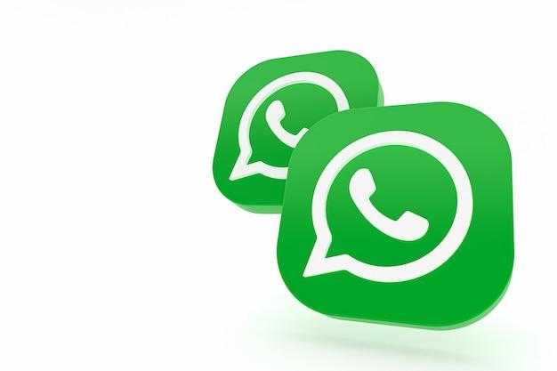 Icône de logo vert application whatsapp rendu 3d sur blanc