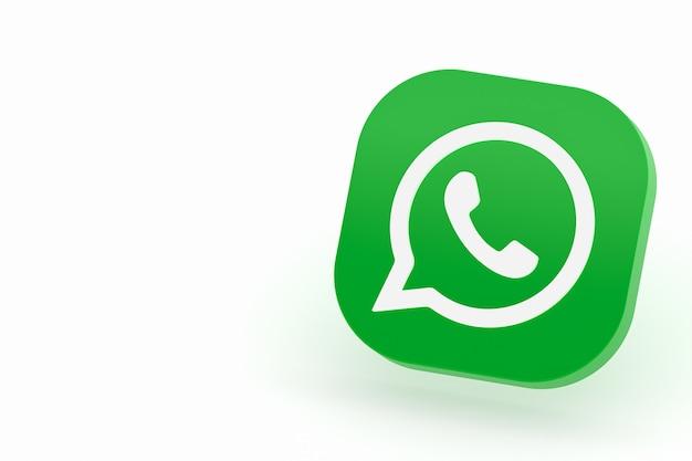 Icône de logo vert application whatsapp rendu 3d sur fond blanc