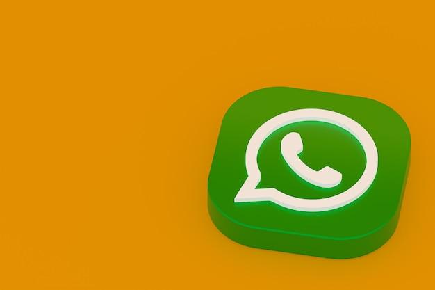 Icône de logo vert application whatsapp rendu 3d sur fond jaune