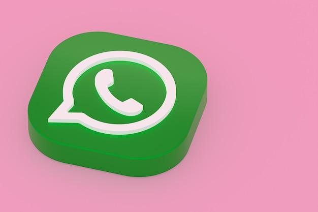 Icône de logo vert application whatsapp rendu 3d sur fond rose