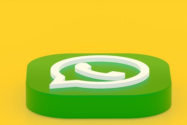 Icône de logo vert application whatsapp rendu 3d sur jaune