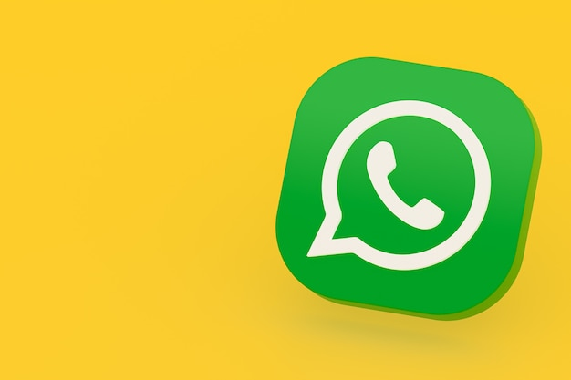 Icône De Logo Vert Application Whatsapp Rendu 3d Sur Jaune Photo Premium
