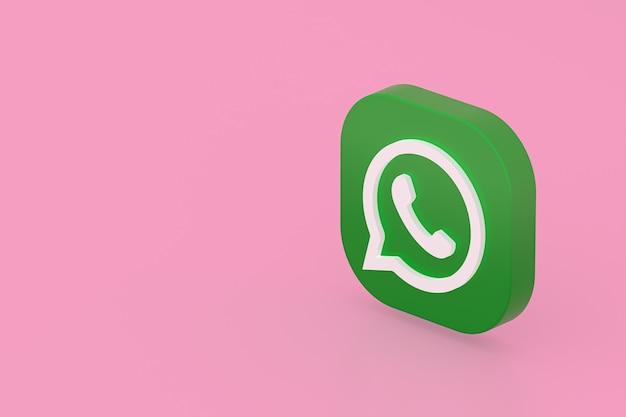 Icône de logo vert application whatsapp rendu 3d sur rose