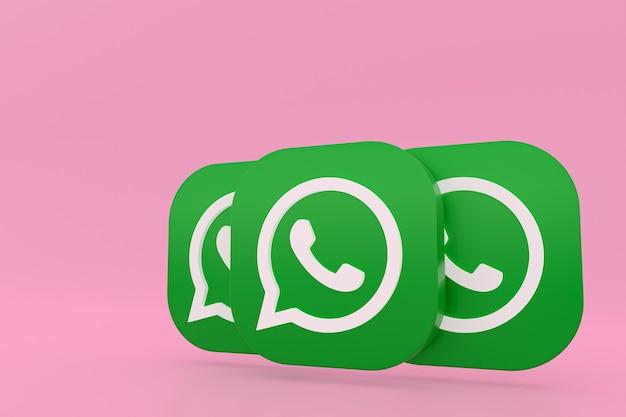 Icône De Logo Vert Application Whatsapp Rendu 3d Sur Rose Photo Premium