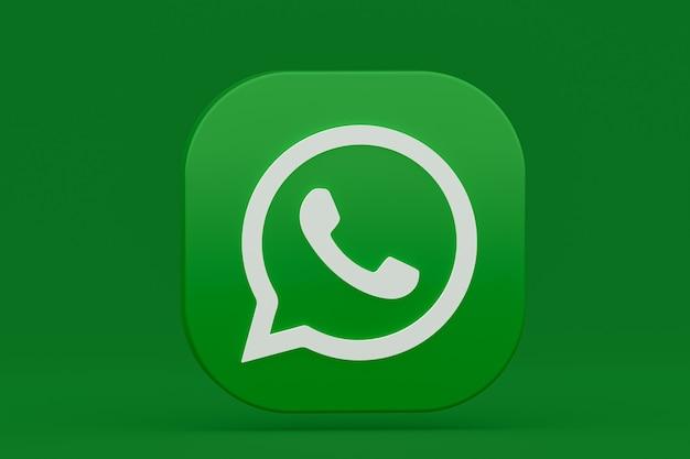 Icône de logo vert application whatsapp rendu 3d sur vert