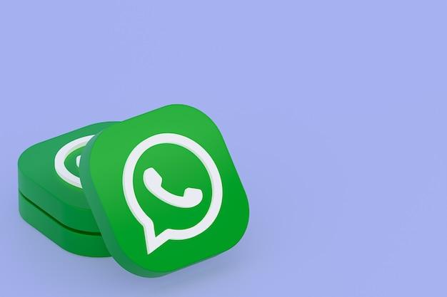 Icône de logo vert application whatsapp rendu 3d sur violet