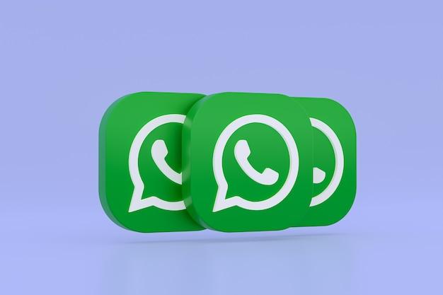 Icône De Logo Vert Application Whatsapp Rendu 3d Sur Violet Photo Premium