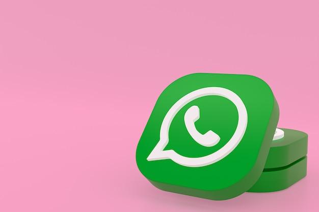 Icône de logo vert application whatsapp rendu 3d