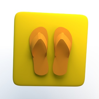 Icône de magasinage avec des tongs sur fond blanc isolé. illustration 3d. app.