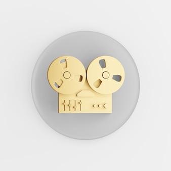 Icône de magnétophone à bobine dorée. bouton clé rond gris de rendu 3d, élément d'interface ui ux.