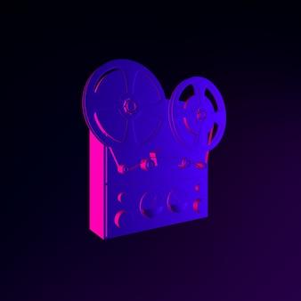 Icône de magnétophone à bobine de néon. élément d'interface ui ux de rendu 3d. symbole lumineux sombre.
