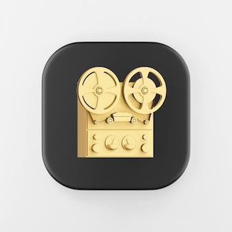 Icône de magnétophone à bobine d'or. touche de bouton carré noir de rendu 3d, élément d'interface ui ux.
