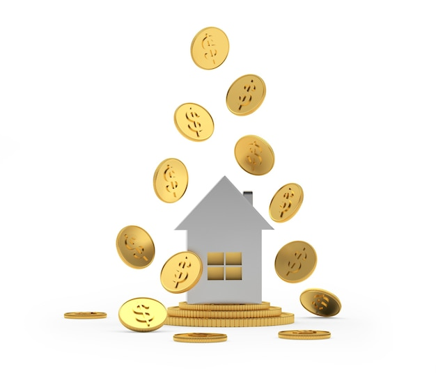 Icône de la maison en argent avec des pièces de monnaie en dollars
