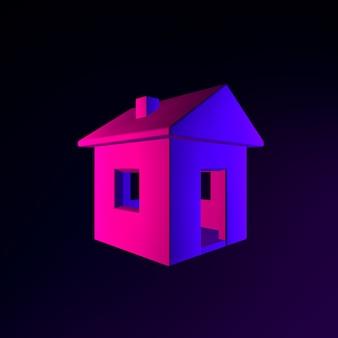 Icône de maison au néon. élément d'interface ui ux de rendu 3d. symbole lumineux sombre.