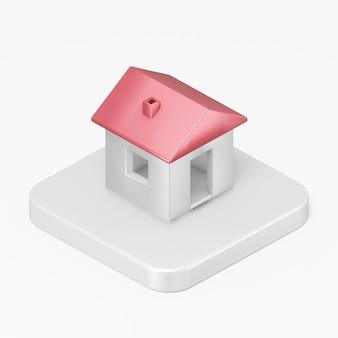 Icône de maison blanche de rendu 3d sur la touche bouton carré blanc isolé sur fond blanc