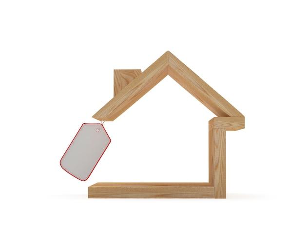 Icône de maison en bois avec étiquette vierge