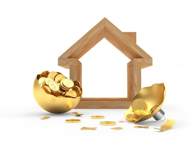 Icône de la maison avec une boule de noël cassée pleine de pièces de monnaie