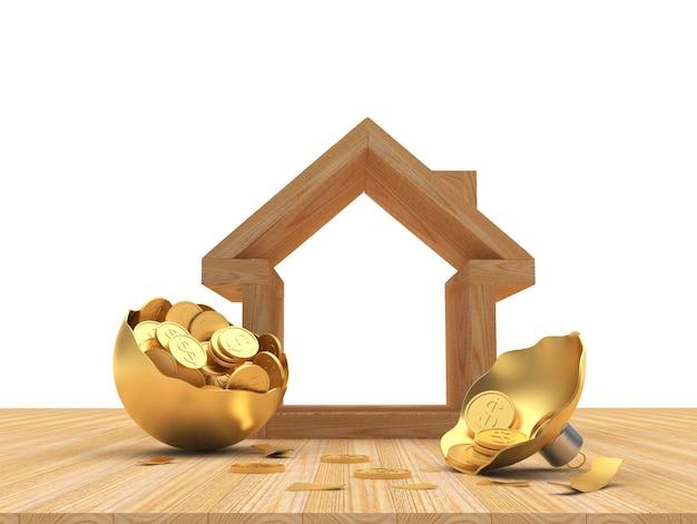 Icône de la maison avec une boule de noël dorée cassée pleine de pièces