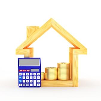 Icône de la maison avec calculatrice et graphique des pièces de monnaie