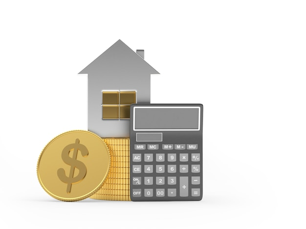 Icône de la maison avec calculatrice et pièce d'un dollar