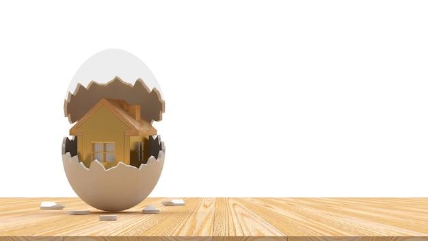 Icône de la maison sur une coquille d'oeuf cassée