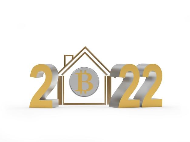 Icône de la maison dorée avec bitcoin et numéro du nouvel an