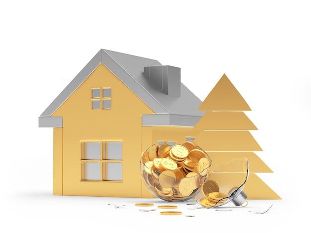 Icône de la maison dorée et boule de noël cassée avec des pièces de monnaie