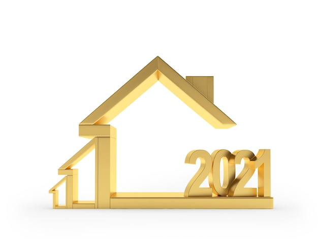 Icône de la maison dorée avec numéro de nouvel an