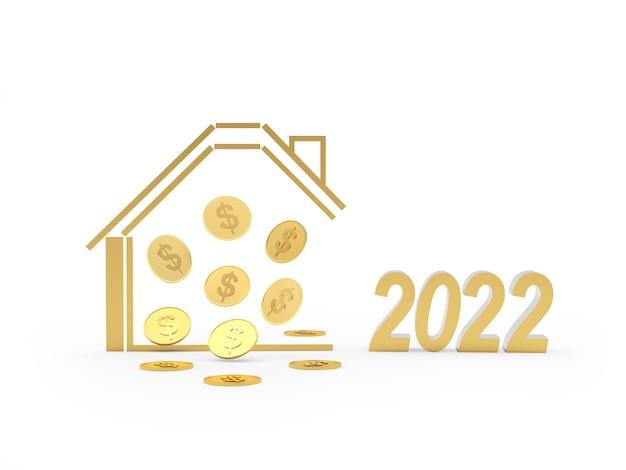 Icône de la maison dorée avec des pièces d'un dollar et le nombre de nouvel an