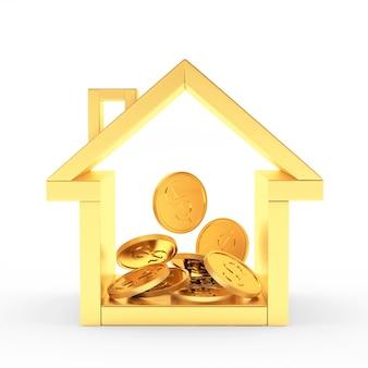 Icône de la maison dorée avec pile de pièces à l'intérieur
