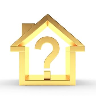 Icône de la maison dorée avec point d'interrogation