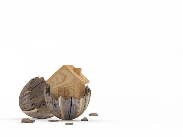Icône de la maison à l'intérieur sur une coquille d'oeuf en bois cassé