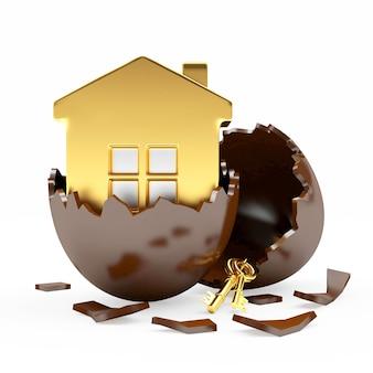 Icône de la maison à l'intérieur d'un œuf de pâques en chocolat cassé