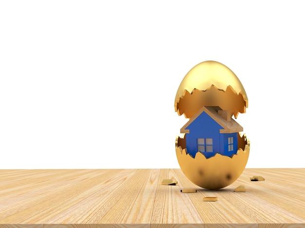 Icône de la maison à l'intérieur sur un œuf de pâques doré cassé