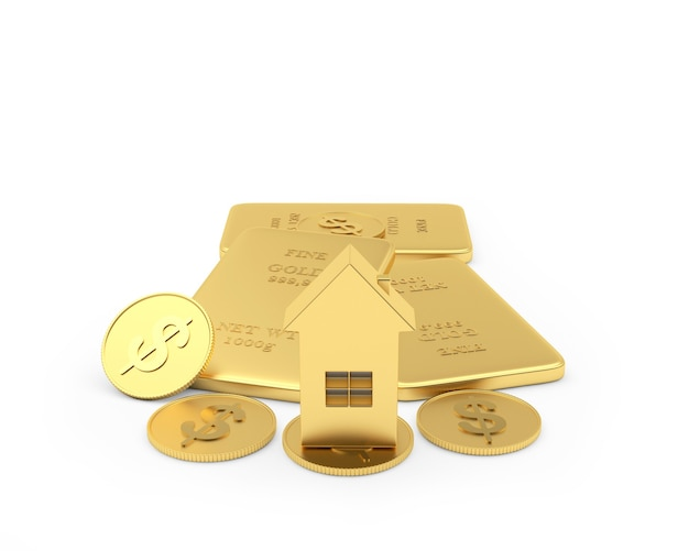 Icône de la maison sur les lingots d'or et les pièces en dollars 3d
