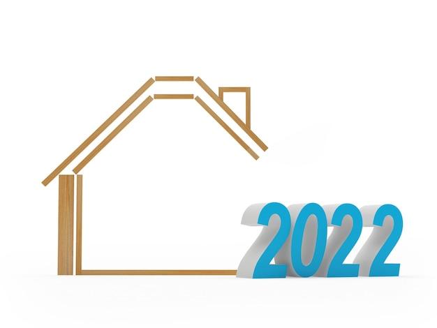 Icône de la maison avec le numéro du nouvel an